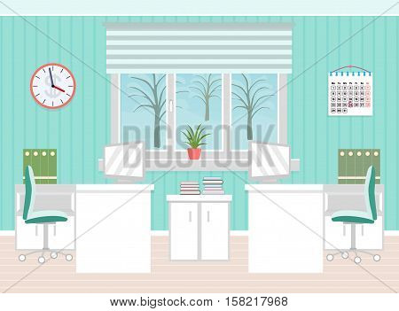 Office room interior including two work spaces with winter landscape outside window. Flat style vector illustration.