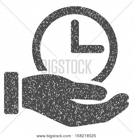 Time Service Hand grainy textured icon for overlay watermark stamps. Flat symbol with scratched texture. Dotted vector gray ink rubber seal stamp with grunge design on a white background.