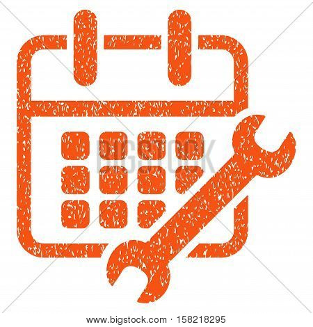 Calendar Configure grainy textured icon for overlay watermark stamps. Flat symbol with dust texture. Dotted vector orange ink rubber seal stamp with grunge design on a white background.