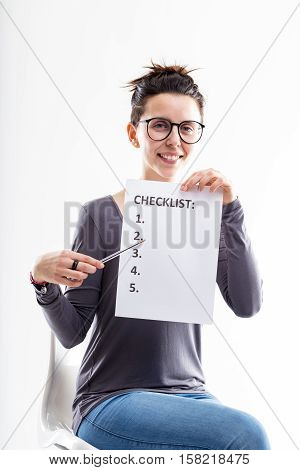 Office Worker Illustrating A Checklist