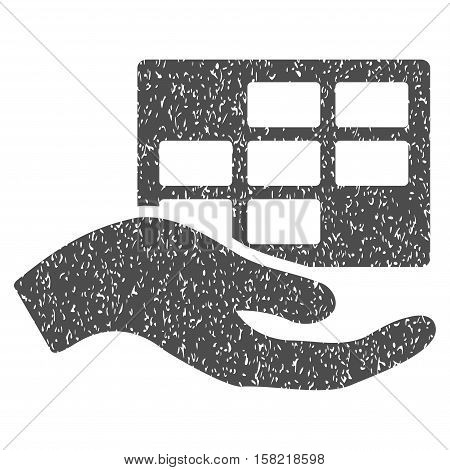 Service Schedule Hand grainy textured icon for overlay watermark stamps. Flat symbol with unclean texture. Dotted vector gray ink rubber seal stamp with grunge design on a white background.