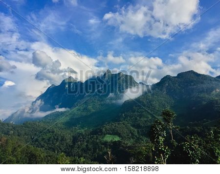Mountains landscape at Doi Luang Chiang Dao High mountain in Chiang Mai Province Thailand Vintage filtered image.