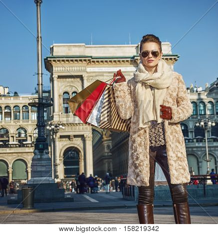 Modern Traveller Woman In Milan, Italy Standing