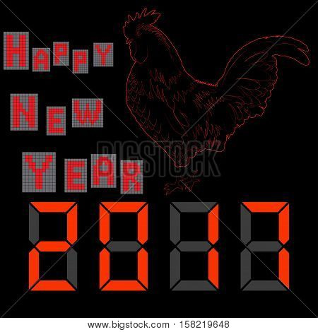 Happy New Year . 2017. Electronic letters. Fiery cock Vector illustration