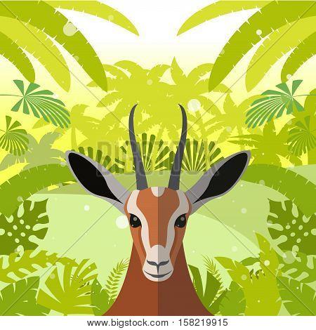 Flat Vector image of the Antelope on the Jungle Background