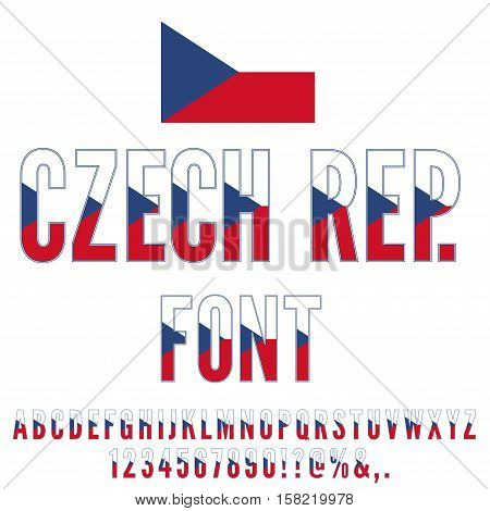 Czech Republic National Flag flat stylized Font. Alphabet and Numbers in Vector Set