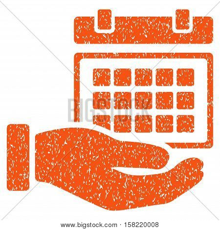 Service Timetable Hand grainy textured icon for overlay watermark stamps. Flat symbol with unclean texture. Dotted vector orange ink rubber seal stamp with grunge design on a white background.