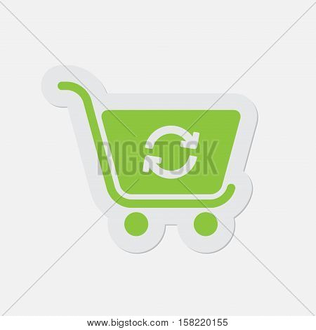 simple green icon with light gray contour and shadow - shopping cart refresh on a white background