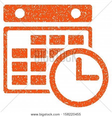 Timetable grainy textured icon for overlay watermark stamps. Flat symbol with dust texture. Dotted vector orange ink rubber seal stamp with grunge design on a white background.