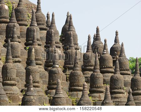 Detail of the Koe-Thaung temple the temple of 90000 Buddha images in Mrauk U Rakhine State Myanmar