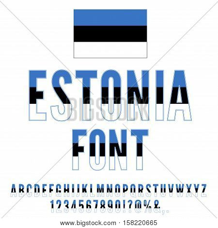 Estonia National Flag stylized flat Font. Alphabet and Numbers in Vector Set