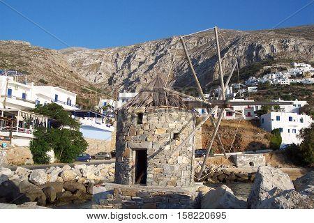 Stone windwill in Amorgos island in sunny day