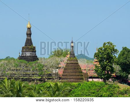 The Zina Man Aung Pagoda in Mrauk U the Rakhine State of Myanmar.