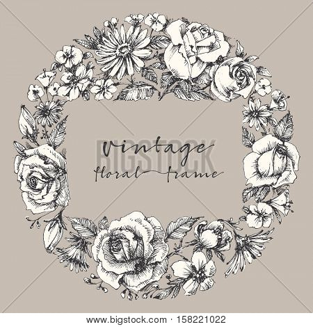 Vintage flower frame, space for text. Retro floral wedding or festive events invitation