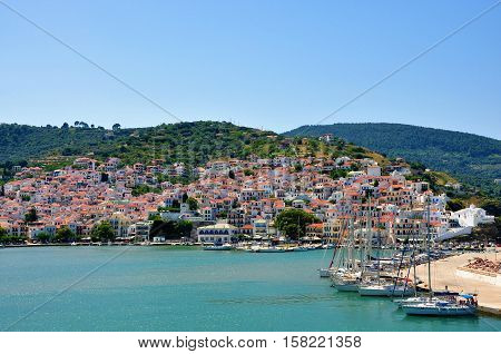 Skopelos island Sporades Greece - June 25 2016: View of Skopelos from sea