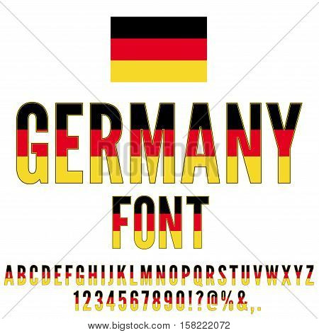 Germany National Flag flat stylized Font. Alphabet and Numbers in Vector Set