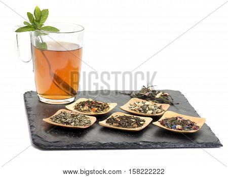 leaf of tea in front of white background