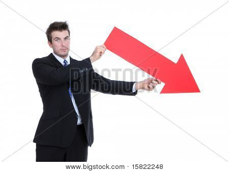 A business man holding a red arrow down indicating failure