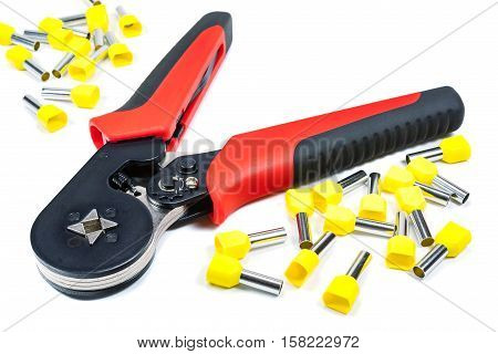 Cord end terminal crimper on a white background