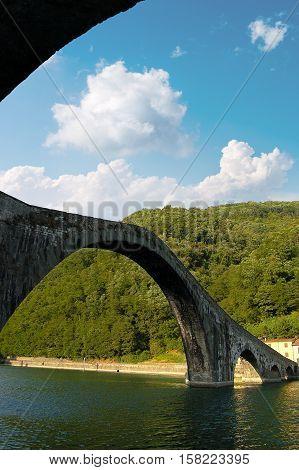 Ponte della Maddalena (Maddalena bridge or devil bridge) XI century. Borgo a Mozzano Lucca Tuscany Italy