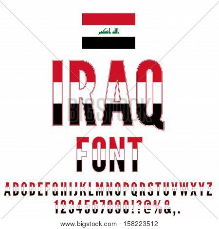 Iraq national flag stylized font. Alphabet and Numbers in Vector Set