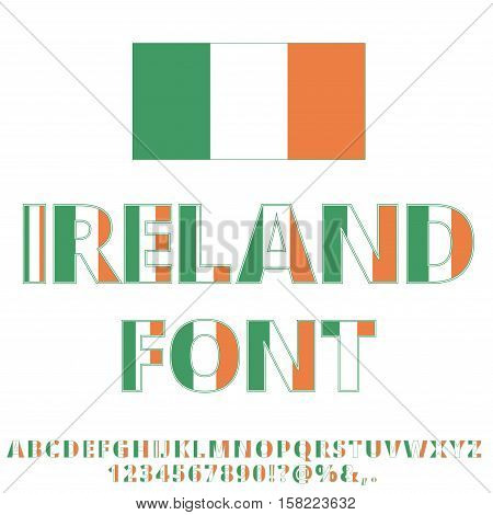 Ireland national flag stylized font. Alphabet and Numbers in Vector Set