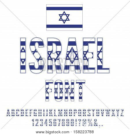Israel national flag stylized font. Alphabet and Numbers in Vector Set