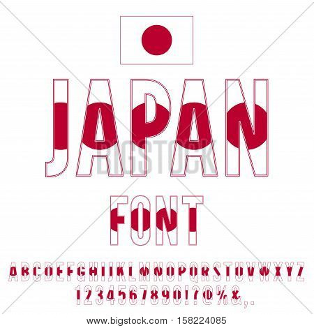 Japan national flag stylized font. Alphabet and Numbers in Vector Set