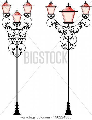 Wrought Iron Street Lamp Post Vector Illustration