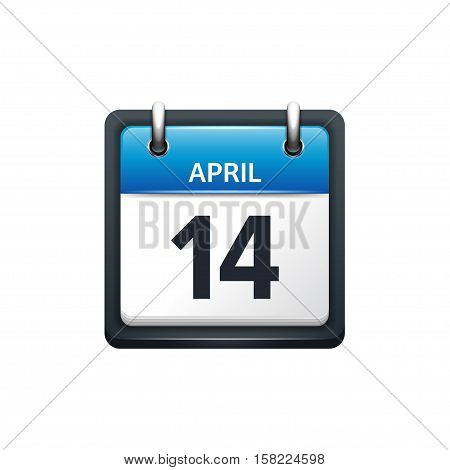 April 14. Calendar icon.Vector illustration, flat style.Month and date..Sunday, Monday, Tuesday, Wednesday, Thursday, Friday, Saturday.Week, weekend, red letter day. 2017, 2018 year.Holidays.