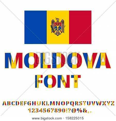 Moldova national flag stylized font. Alphabet and Numbers in Vector Set
