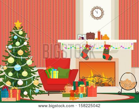 Christmas livingroom flat interior vector illustration. Christmas New Year tree, red armchair and fireplace with socks. Christmas wall red pattern