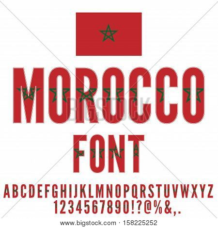Morocco national flag stylized font. Alphabet and Numbers in Vector Set