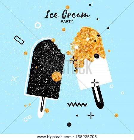 Sweet Ice Cream Stick with different flavor. Gold Glitter Dessert party time. Two of tasty frozen dessert on blue background. Vector illustration.