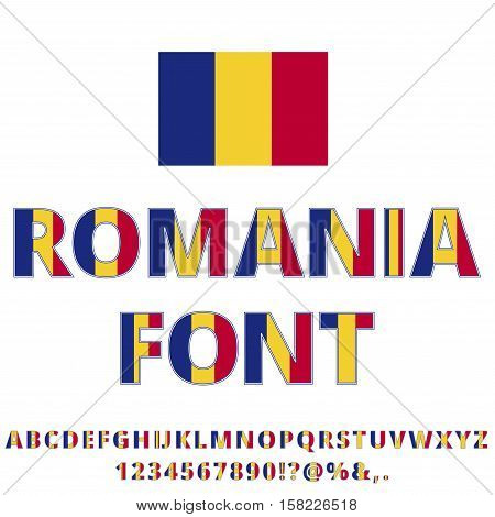 Romania National flag flat stylized Font. Alphabet and Numbers in Vector Set