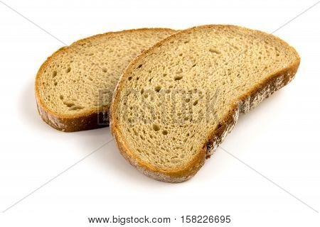 Sliced Brown Bread close up of food on white background
