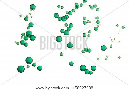 Beautiful green bubbles isolated over a white background