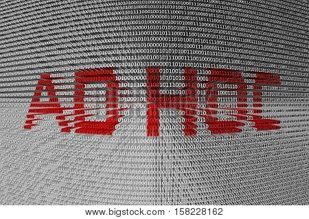 ad hoc in the form of binary code, 3D illustration