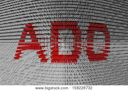 ADO is presented in the form of binary code 3d illustration