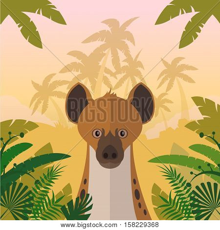 Flat Vector image of the Hyena on the Jungle background