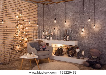 Winter Loft Style Room With Christmas Decoration