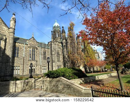 Toronto Canada - November 18 2016: Trinity College at University of Toronto.
