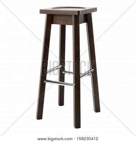 Wooden comfortable chair for pub isolated on white background.