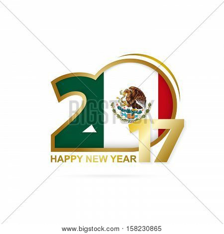 Year 2017 With Mexico Flag Pattern. Happy New Year Design On White Background.
