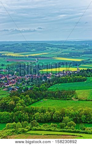 Aerial View On Vezelay In Bourgogne Franche Comte In France
