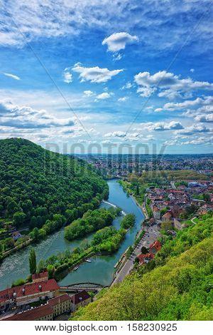 Aerial View To Besancon Bourgogne Franche Comte Region France