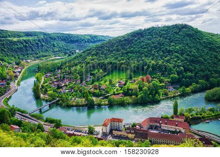 Aerial View To Besancon In Bourgogne Franche Comte Region France
