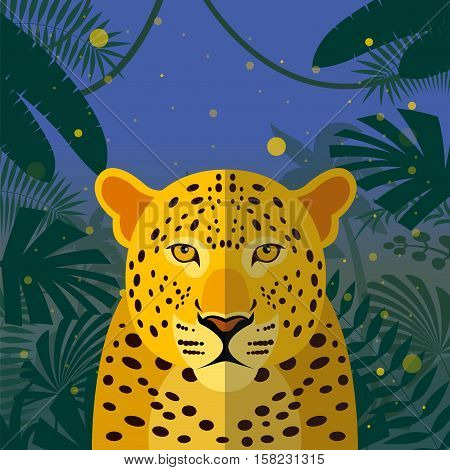 Flat Vector image of the Leopard on the Jungle Background