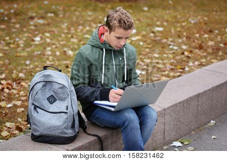 Teenager sitting on parapet with laptop and notepad in autumn day