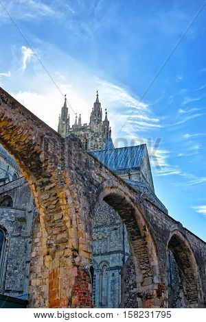 Arch Of Canterbury Cathedral In Canterbury Kent Uk